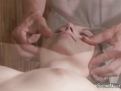 Hirsute babe gets pussy massaged and banged
