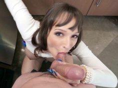 Lexi Luna sucks cock and eats balls in POV