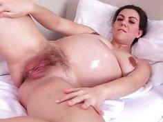 Pregnant Corazon Oiled Up and Masturbating!