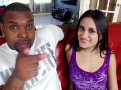 Sinful Selma Sins gives a tremendous blowjob to a black rod