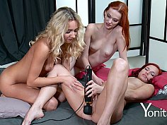 Three horny girls playing with their sex toys