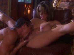 Busty black head Maya Gates gets a hot cunnilingus on the couch