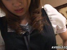 Pretty maid Yuka Koizumi is eaten dry by the landlord