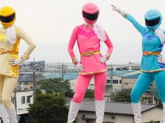 Japanese Power Ranger gets stripped and gangbanged